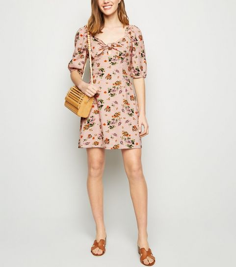 ... Pink Floral Linen Blend Mini Dress ... 5b89404c3