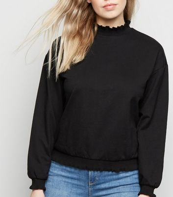 Black Frill High Neck Jumper