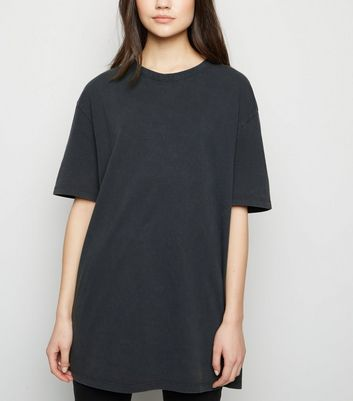 Dark Grey Acid Wash Oversized T-Shirt
