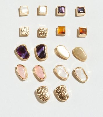 Gold 9 Pack Resin Stone Stud Earrings