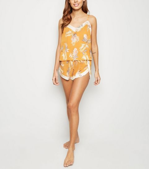 f475307df07 ... Gold Tropical Satin Pyjama Cami ...