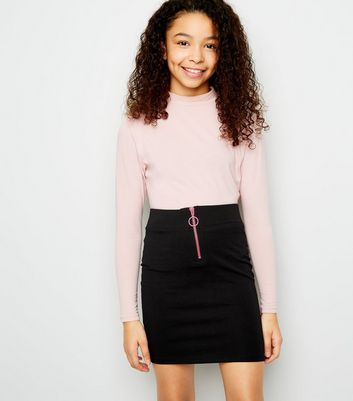 Girls Black Neon Zip Front Tube Skirt