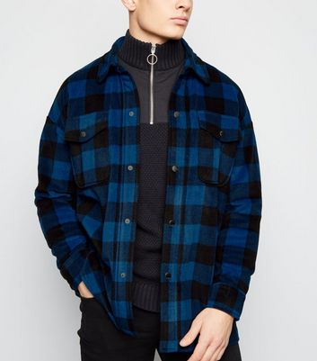 Blue Check Fleece Popper Front Shacket