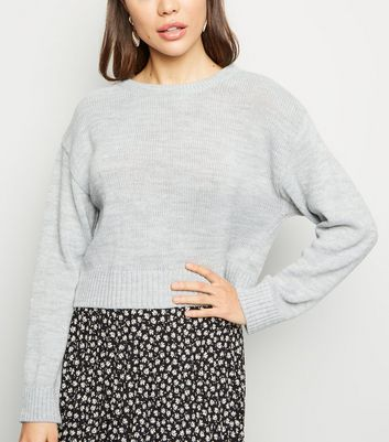 Pale Grey Crew Neck Crop Jumper