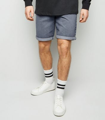 Pale Grey Light Wash Denim Shorts