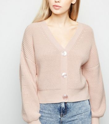 Pale Pink Button Front Cardigan