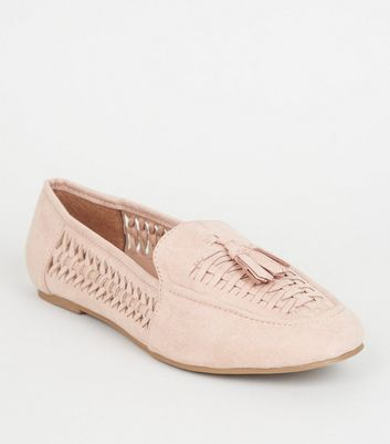 Wide Fit Nude Sudette Woven Panel Loafers