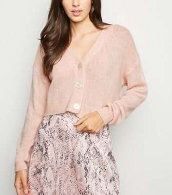 Pale Pink Button Front Crop Cardigan
