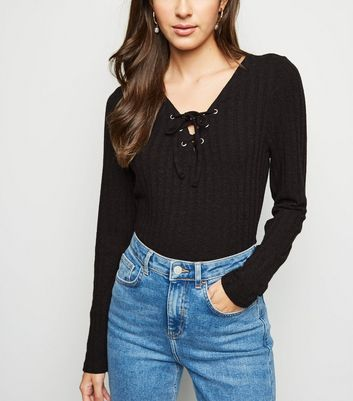 Black Ribbed Lattice Front Top