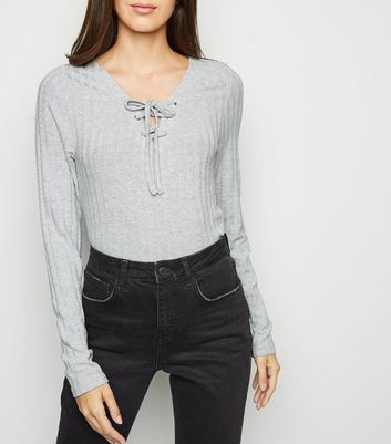 Pale Grey Ribbed Lattice Front Top