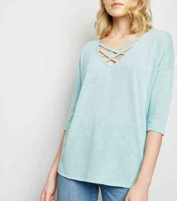 Pale Blue Fine Knit Lattice Front Top