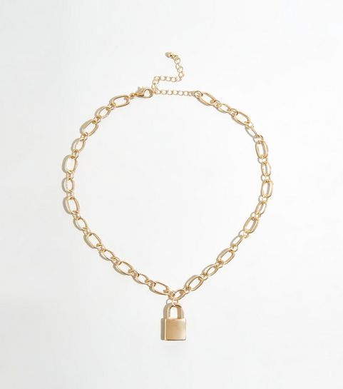 42807950cb9 ... Gold Padlock Pendant Chunky Chain Necklace ...