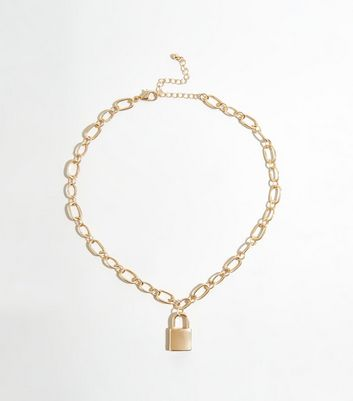 Gold Padlock Pendant Chunky Chain Necklace by New Look