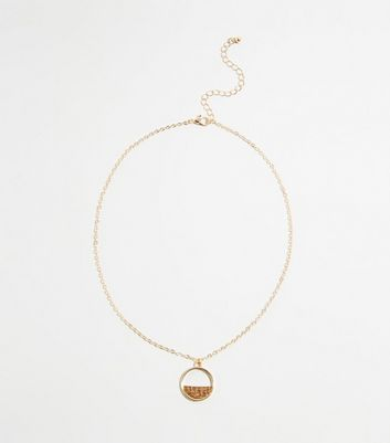 Gold Raffia Half Disc Pendant Necklace