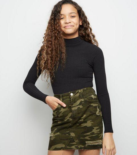 ... Girls Green Camo Ripped Denim Skirt ... 3a7612da1