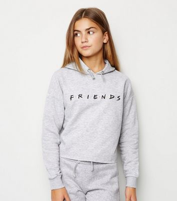Girls Grey Friends Slogan Hoodie