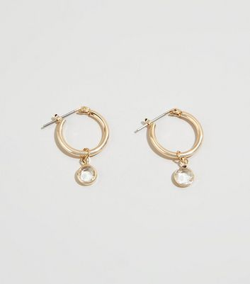 Gold Diamanté Charm Hoop Earrings