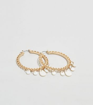 Gold Chain Mother of Pearl Chain Hoop Earrings