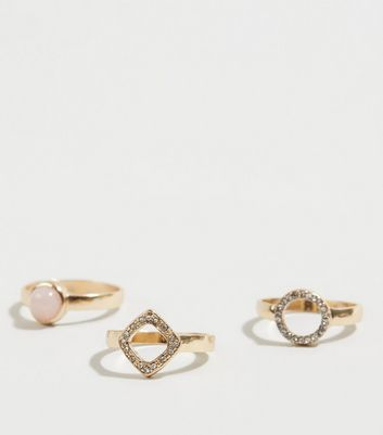 Gold 3 Pack Stone Diamanté Stacking Rings