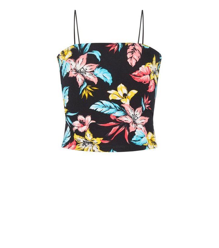 67bd0a549bd33 ... Girls Black Tropical Floral Square Neck Cami. ×. ×. ×. Shop the look