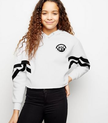 Girls White New York Slogan Hoodie