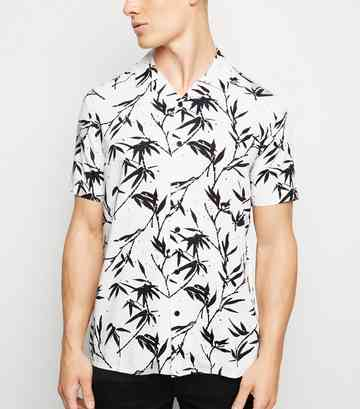 White Bamboo Print Revere Collared Shirt