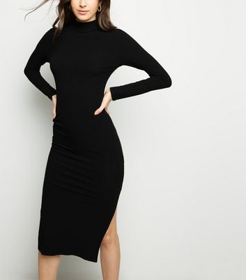 Black High Neck Side Split Bodycon Midi Dress