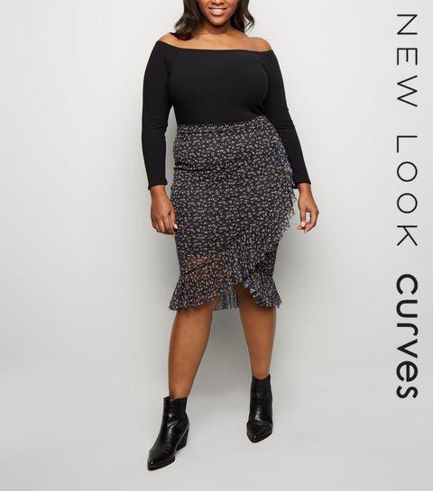 37f0768e37061 ... Curves Black Ditsy Floral Mesh Midi Skirt ...
