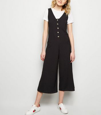 Black Rib Button Front Jumpsuit