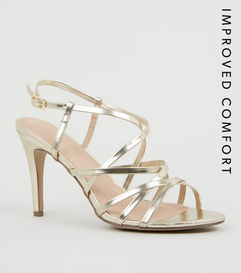 ac397276386 ... Gold Metallic Leather-Look Strappy Stiletto Heels ...