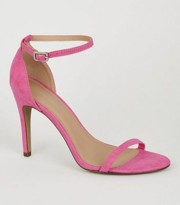 Bright Pink Suedette 2 Part Stiletto Heels