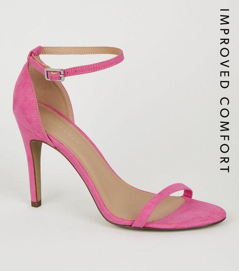 8cff6d2ed1f ... Bright Pink Suedette 2 Part Heels ...