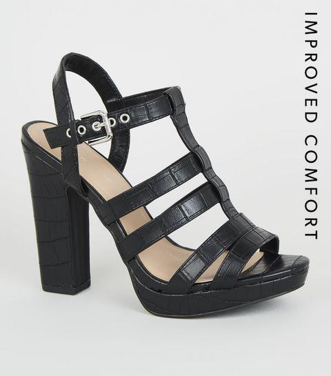 b8321591965 ... Black Faux Crock Platform Gladiator Heels ...