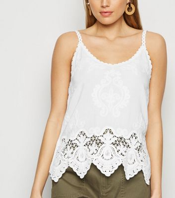 Tall White Crochet Cami