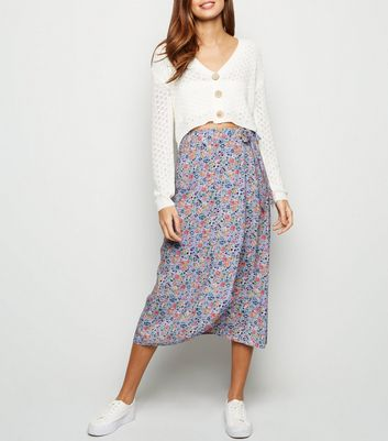 Purple Floral Midi Skirt