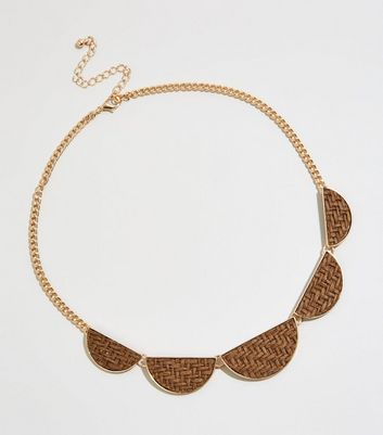 Gold Raffia Chain Necklace