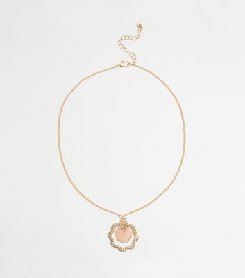 Gold Shell Disc Cut Out Edge Pendant Necklace