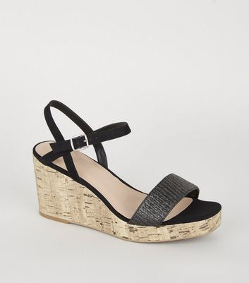Black Woven Strap Cork Wedges