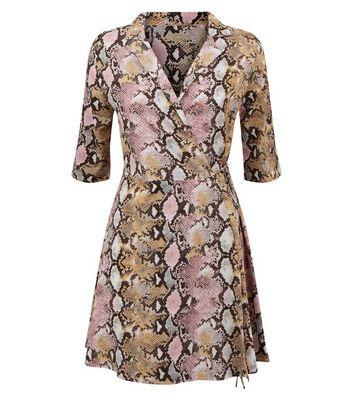 shop for Blue Vanilla Pink Snake Print Wrap Dress New Look at Shopo