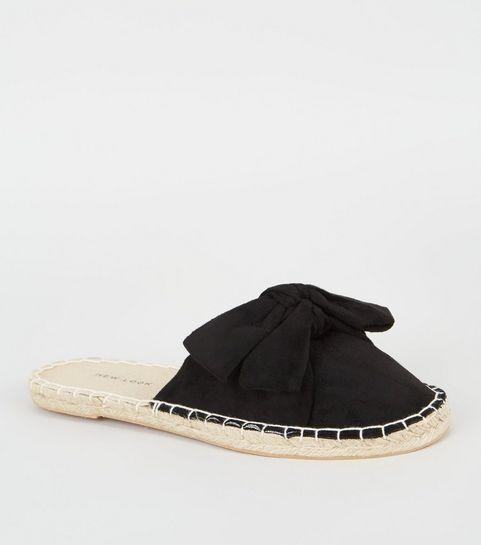 7b8e6204754561 Black Suedette Bow Espadrille Mules · Black Suedette Bow Espadrille Mules  ...
