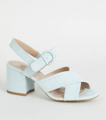 Girls Mint Green Cross Strap Block Heels