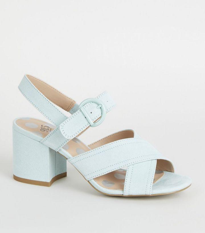 539ae98bdc1 Girls Mint Green Cross Strap Block Heels