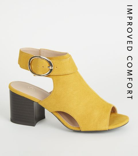 b1a1c4bc0af ... Girls Yellow Suedette Side Buckle Peep Toes ...