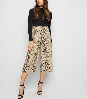 Pink Vanilla Stone Snake Print Belted Culottes