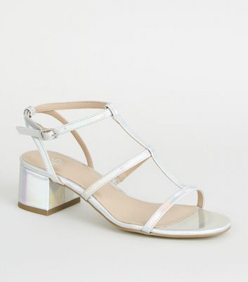 Girls Silver Holographic Gladiator Block Heels