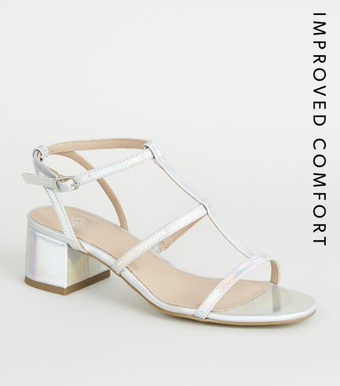 9e492bbf8add7 ... Girls Silver Holographic Gladiator Block Heels ...