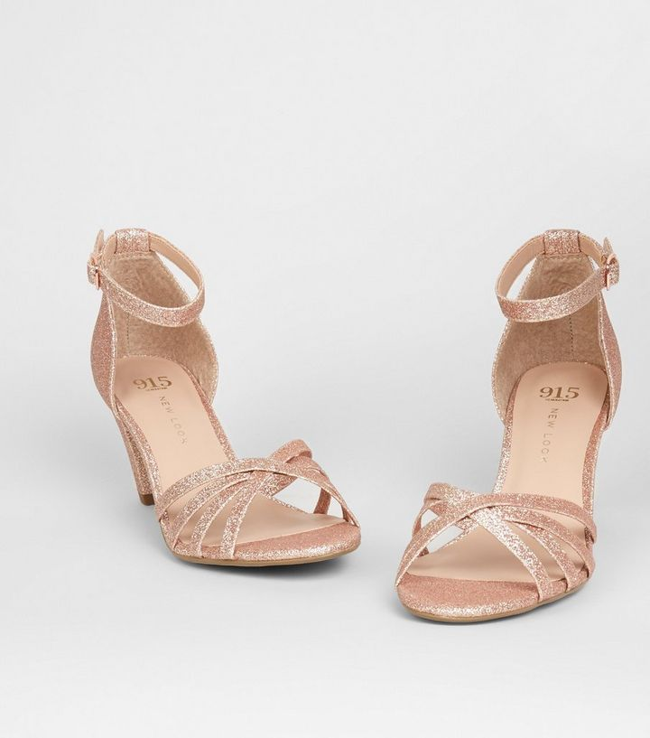 d8e65826b3f ... Girls Rose Gold Glitter Strappy Heels. ×. ×. ×. Shop the look