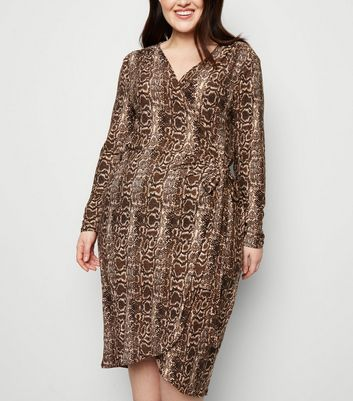 Blue Vanilla Curves Brown Snake Print Dress