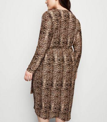 shop for Blue Vanilla Curves Brown Snake Print Dress New Look at Shopo