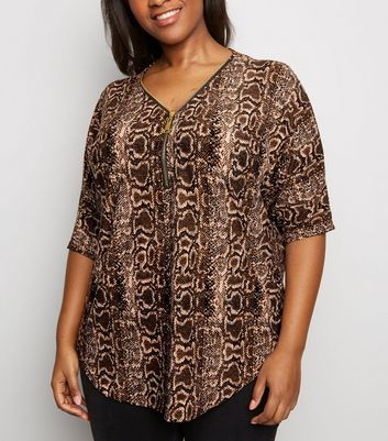 Blue Vanilla Curves Tan Snake Print Top